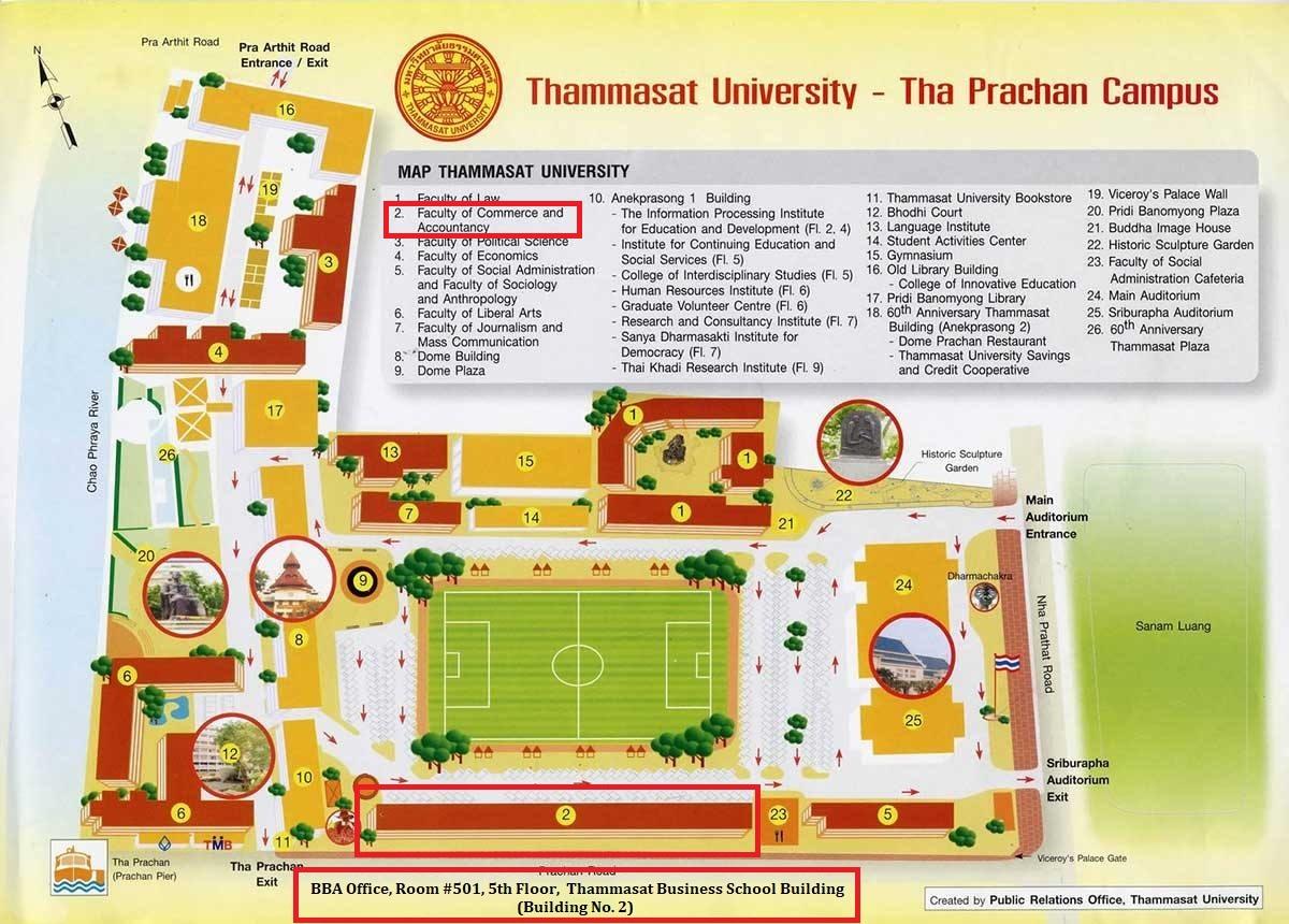 แผนที่ภายในมหาวิทยาลัยธรรมศาสตร์ ท่าพระจันทร์